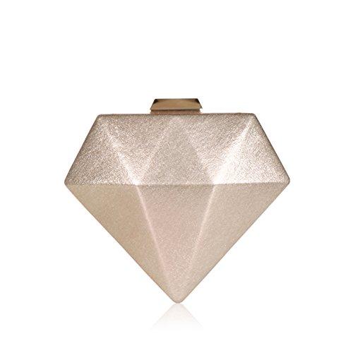 Fashion Diamonds Purses Evening Bags ,WALLYN'S Alloy Metal Clutch Chain Handbag(Champagne)