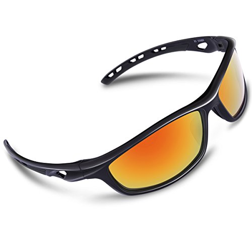 RIVBOS Polarized Sports Sunglasses Driving Sun Glasses for Men Women Tr 90 Unbreakable Frame for Cycling Baseball Running Rb833 (Black Rainbow - Men Sports Sunglasses For