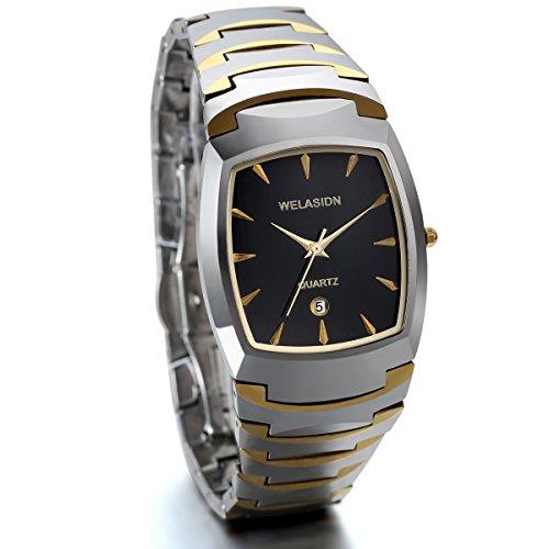 JewelryWe Men's Bracelet Watch Tungsten Carbide Square Dial Quartz Wristwatch Gift for Him
