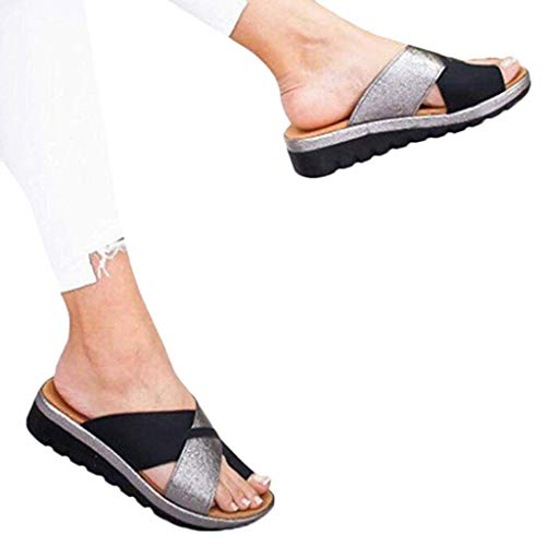 (Women's Aditi Low Wedge Dress Sandals Casual Flip Flops Buckle Strap Wedges Sandals Platforms Shoes)