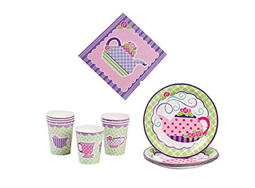 Tea Party Kit - Birthday Party Supplies Set Tea Party Theme Dinner Plates and Napkins and Cups (Tea Party Birthday Party Supplies)