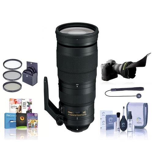 Nikon 200-500mm f/5.6E ED AF-S VR Zoom NIKKOR Lens - U.S.A. Warranty - Bundle with 95mm Filter Kit, Flex Lens Shade, Cleaning Kit, Cap Leash, Software Package by Nikon