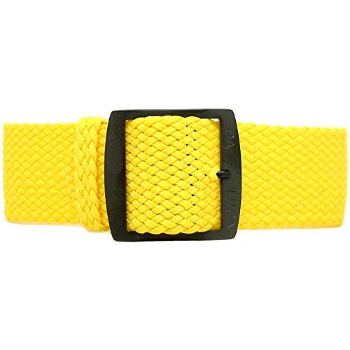 DaLuca Braided Nylon Perlon Watch Strap - Yellow (PVD Buckle) : 24mm