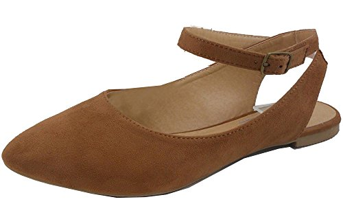 IYNX Womens Pointed Toe Adjustable Ankle Strap Mary Jane Ballet Flat Tan f2UpF3fdm