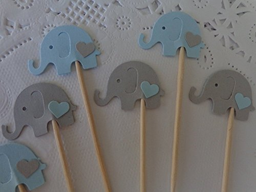 Light Blue and Light Grey Elephant Cupcake Toppers – Elephant and Hearts Food Picks – Blue and Gray Elephants – Baby Boy Shower Appetizer Picks (Set o…