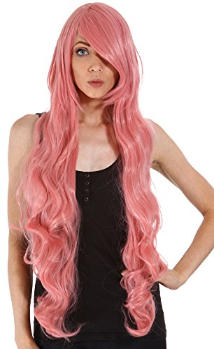 Simplicity Cosplay Fashion 40 Long Pink Curly Hair Wig + Free Wig Cap