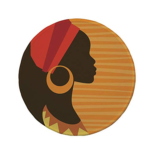 Non-Slip Rubber Round Mouse Pad,Afro Decor,Girl Profile Silhouette with Earrings Grace and Elegance Icon Image,Dark Brown Merigold,11.8