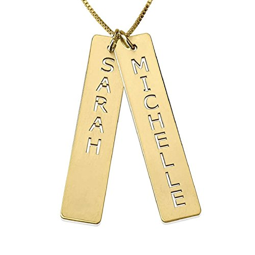 Personalized Custom 24K Gold Plated Vertical Bar Necklace with Two Names Jewelry (18)