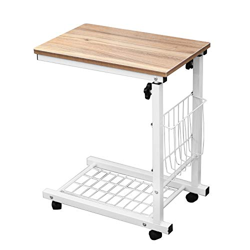 SogesHome Mobile End Table Laptop Desk Sofa Table Bed Side Table Snack Table Nightstand,Oak NSDUS-C6-OK