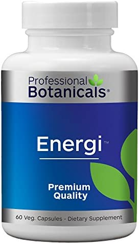 Professional Botanicals Energi – Vegan Adaptogen Boost for Mental Clarity, Energy and Stress Support – 60 Vegetarian Capsules