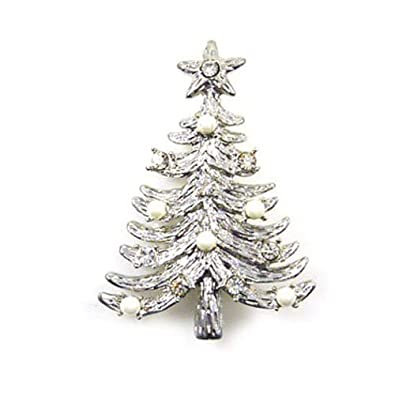 Brooches Store Swarovski Crystal & Pearl Christmas Tree Brooch Pin ...