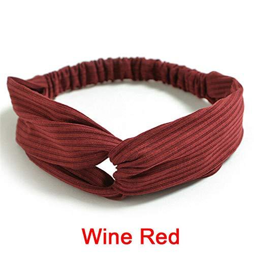 Knitting Cross Headband Silk Knot Turban Women Headband Hair Accessory Headwrap` (COLOR - Wine Red)