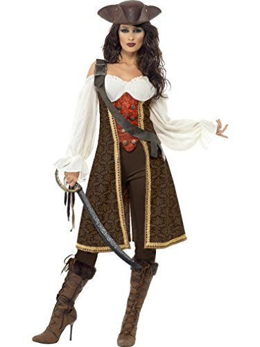 Smiffys Pirate Wench Costume (Smiffy's Women's Deluxe Pirate Wench Caribbean Fancy Dres Costume Women: 16-18 Brown,Red And White)