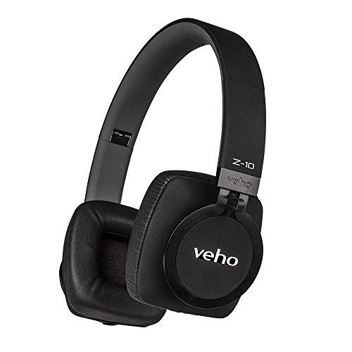 Veho VEP-010-Z10 Z-10 On-Ear Wired Premium Headphones, Flex Anti-Tangle Cable, Black