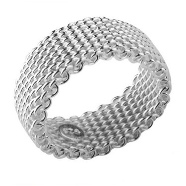 Mesh Silver Ring Sterling Flexible - Flexible Mesh Chain Link Ring Sterling Silver Wire Size 5(Sizes 5,6,7,8,9,10,11,12)