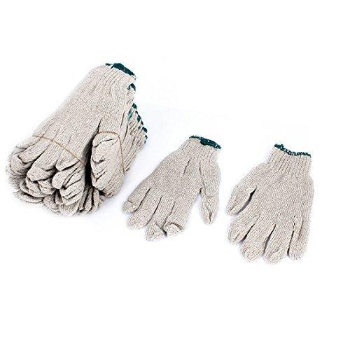 労働者のための12Pairsホワイトナイロンフルフィンガー弾性カフ作業手袋  B073W4KRK9