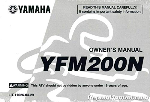 LIT-11626-04-29 1985 Yamaha YFM200N-S Moto-4 ATV Owners Manual