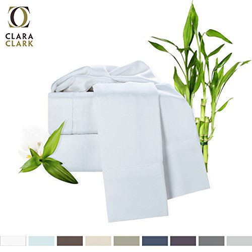 Best Price Bamboo Bed Sheet Set, White, Queen Size, By Clara Clark, 100% Rayon Made From Bamboo Shee...