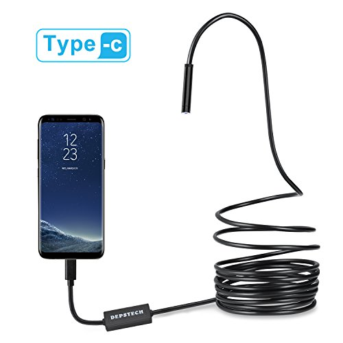 Depstech USB-C & Micro USB Endoscope, Semi-rigid USB Type-C Borescope Inspection Camera 2.0MP CMOS HD Waterproof Snake Camera with 8 Adjustable Leds for Android, Windows & Macbook Device - 16.4ft(5M) (Port Access Client)