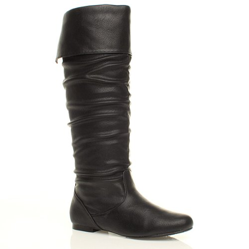 WOMENS LADIES FLAT CUFF KNEE HIGH PULL ON SLOUCH BOOTS SIZE 7 40 5cFhIUldHK