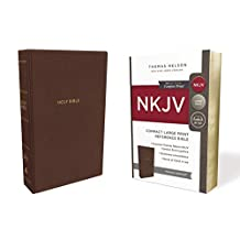 NKJV, Reference Bible, Compact Large Print, Leathersoft, Brown, Red Letter Edition, Comfort Print