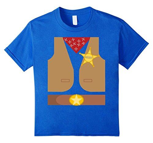 Kids Western Sheriff Costume Tshirt - Easy Halloween Costume Idea 8 Royal (Western Halloween Costume Ideas)