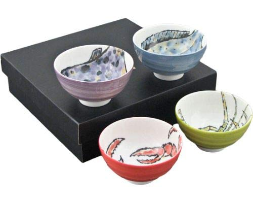 Authentic Japanese Porcelain Multi Purpose Bowl Set of 4 Japanese Seafood Crab Lobster Pufferfish Flounder Assorted Colors Design Set Made In Japan (4.25