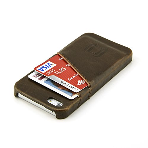 iPhone SE Card Case by Dockem- Vintage Synthetic Leather Wallet Case, Ultra Slim Professional Executive Snap On Cover with 2 Card Holder Slots; fits iPhone SE, iPhone 5, iPhone 5S (Brown)