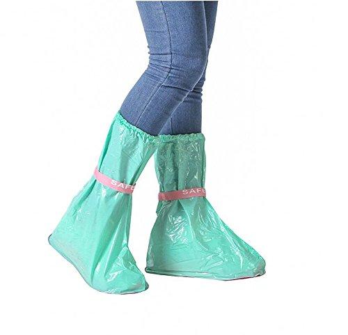 ikee reusable PVC Slip-resistant Outdoor long style waterproof rain overshoes 2pcs/set (green&pink) green&pink