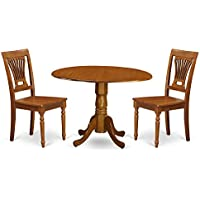 East West Furniture DLPL3-SBR-W 3-Piece Kitchen Table Set, Saddle brown Finish