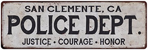 SAN CLEMENTE, CA POLICE DEPT. Vintage Look Metal Sign Chic Decor Retro - Clemente Ca San