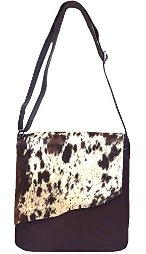 'Gloria' Dark Chocolate and White 100% Leather and Genuine Haircalf Shoulder Handbag by ILI New York