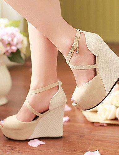 ShangYi Womens Shoes Heel Wedges / Heels / Peep Toe / Platform Sandals / Heels Outdoor / Dress / CasualBlack / Blue / Almond Black