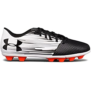 Under Armour Kids Spotlight DL FG-R Jr Soccer Cleats White/Phoenix Fire/Black Size 6 M US