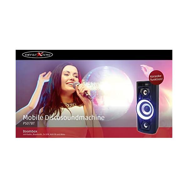 Reflexion PS07BT Système DJ Karaoké PA, avec Batterie et Effets Lumineux (Bluetooth, USB, AUX, Prise Microphone, raccordement de Guitare, 320W), Noir 5