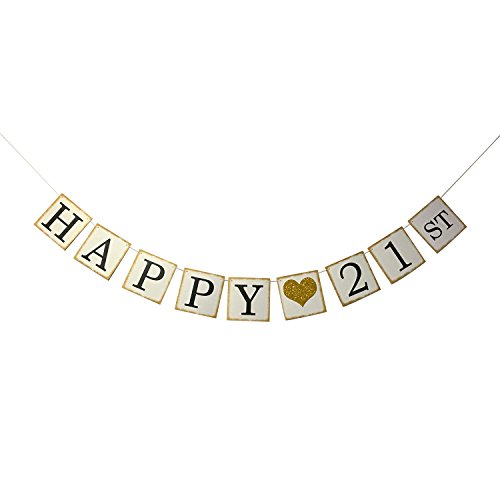 Happy-21st-Birthday-Banner-Gold-Glitter--Forever-21-Party-Favors-Supplies-Gifts-Themes-and-Ideas-Vintage-Happy-Birthday-Decorations
