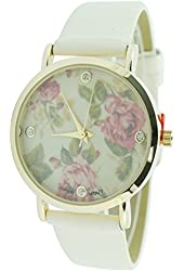Women's Designer Inspired Ivory Band Watch Floral Print Dial Quartz Analog