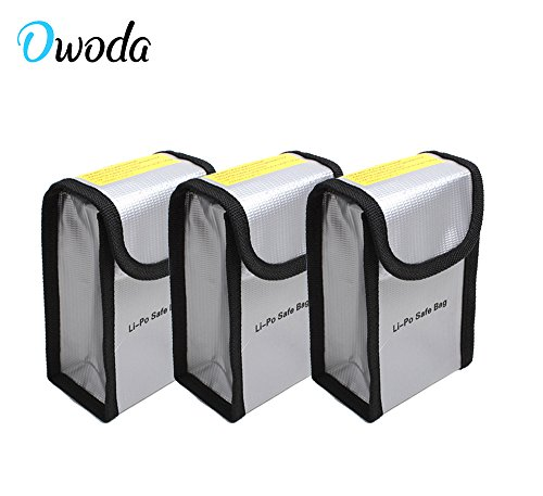 O'woda Upgraded Thicker Fireproof Explosion-proof Lipo Battery Safe Bag Sleeve Lipo Battery Guard Pouch Sack Charge Protection Bag for DJI Phantom 3 / 4 (3 pieces)