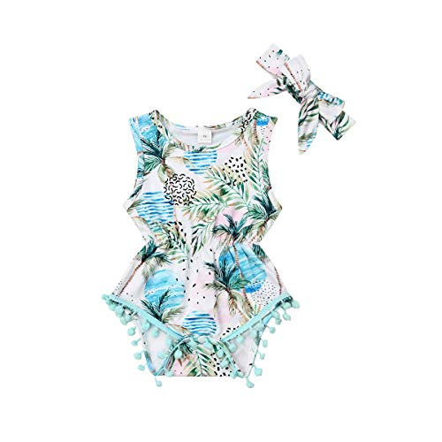 Infant Baby Girls Floral Pompom Tassels Romper Bodysuit Sleeveless Jumpsuit Outfit with Headband Summer Clothes (Floral-Coco Tree, 6-12 ()