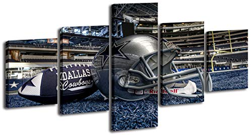 Dallas Cowboys Decor - 5 Piece Football with Helmet Photo Ornament Painting -