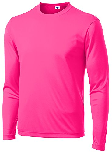 (Opna Men's Long Sleeve Moisture Wicking Athletic Shirts NEOPNK-L Pink)