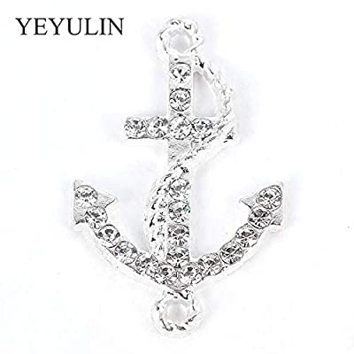 Kamas 10PCS Gold Silver Full Rhinestone Zinc Alloy Anchor Charms Connector for Unisex DIY Necklace Bracelet Jewelry Accessories - (Color: Silver): Garden & Outdoor