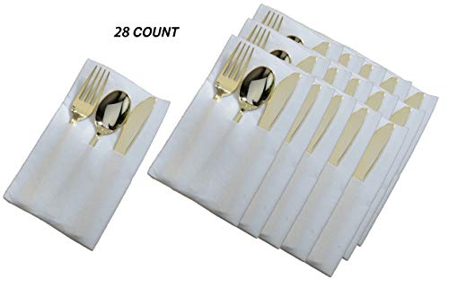 (Pocket Napkin Cutlery Set | Heavy Duty White Napkin With Premium Polished Plastic Gold Cutlery Combo | 28 Count)