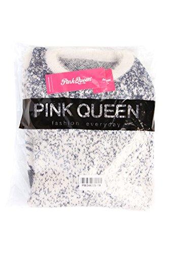 Pink Queen Women Reindeer Print Knit Christmas Jumper Sweater(Blue)