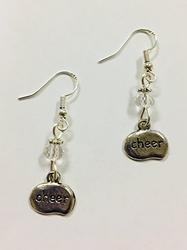 Cheer Charm Earrings, accented with clear faceted crystal accent bead, on sterling silver earwires - Cheerleader Bead
