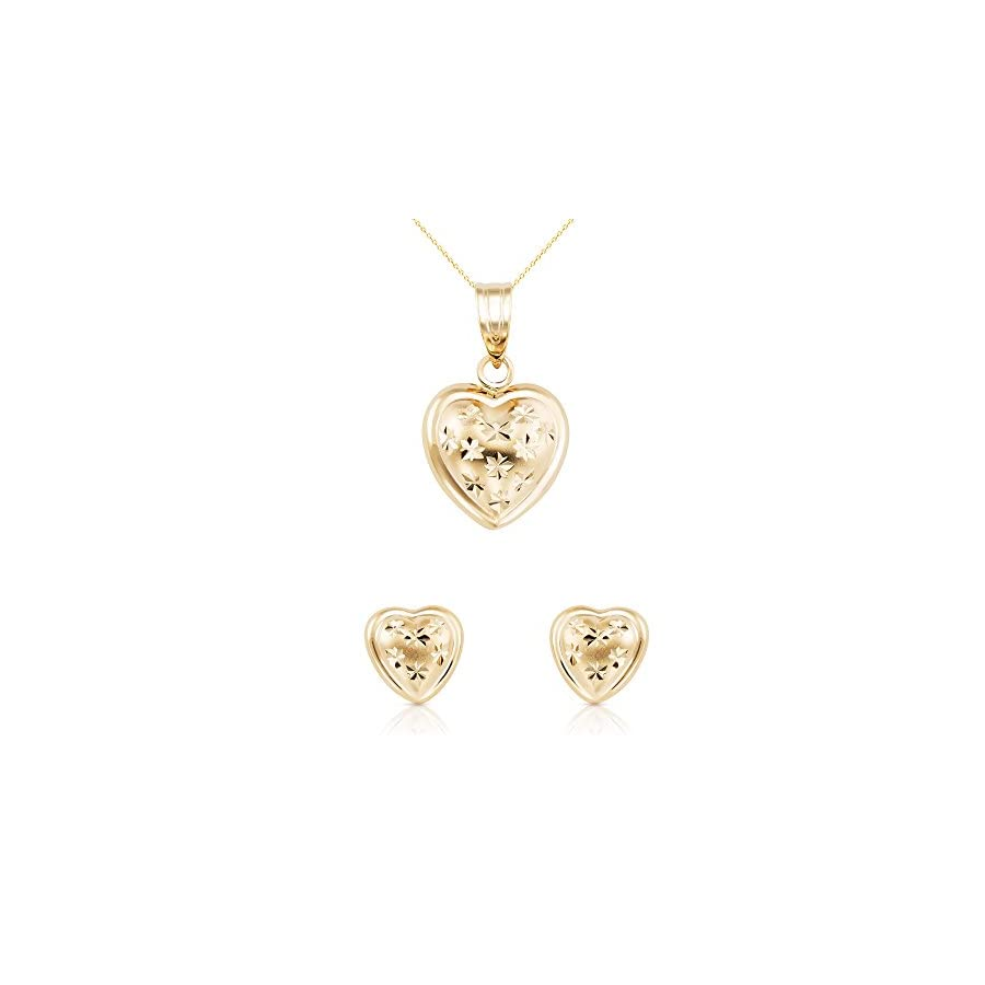 14k Solid Yellow Gold Heart Fine Jewelry Set: Necklace and Earrings For Women, Girls and Kids