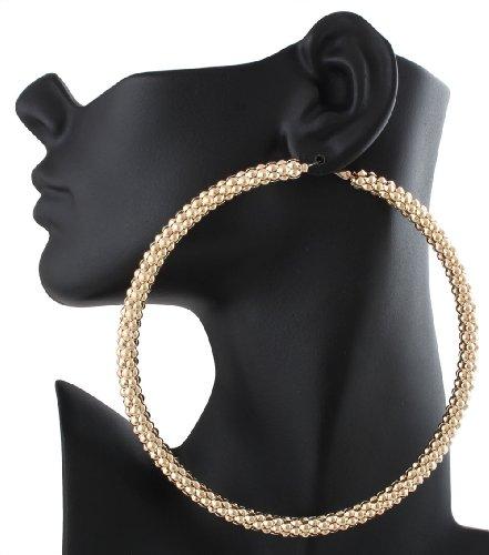 (Goldtone Mesh Pattern Large 4 Inch Hoop Earrings)