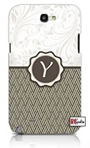 Monogram Initial Letter Y Unique Quality Hard Snap On Case for Samsung Galaxy Note 2 Note II N7100 (WHITE)