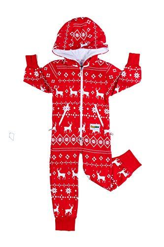 Tipsy Elves Youth Red Reindeer Jumpsuit: Medium