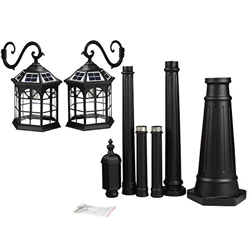 Kendal 8 Feet High Outdoor Solar Lamp Post Light with Two Heads and LED Lights SL-3801black2.45M by Kendal (Image #5)